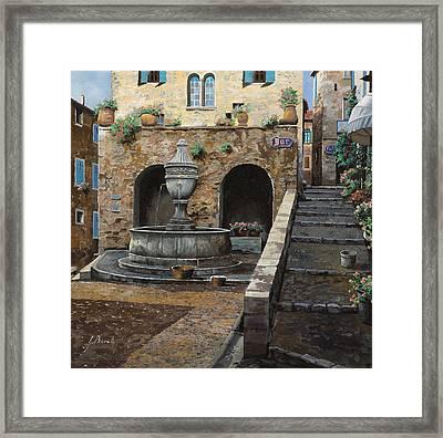 Rue Du Bresc A St Paul De Vence Framed Print by Guido Borelli