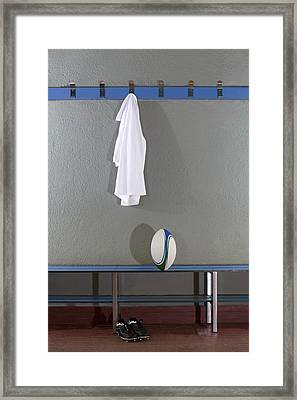 Rugby Jersey, Ball And Boots In Change Room (b&w) Framed Print by Photo and Co