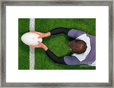 Rugby Player Scoring A Try With Both Hands. Framed Print by Richard Thomas