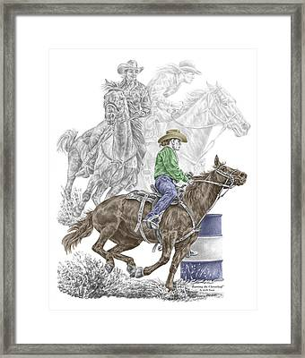 Running The Cloverleaf - Barrel Racing Print Color Tinted Framed Print by Kelli Swan