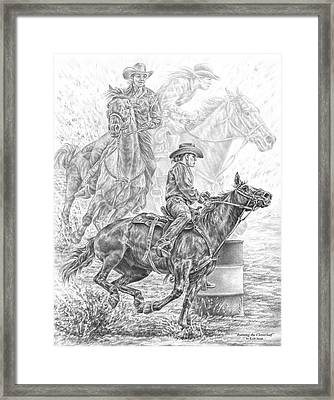 Running The Cloverleaf - Rodeo Barrel Race Print Framed Print by Kelli Swan