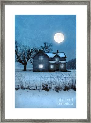 Rural Farmhouse Under Full Moon Framed Print by Jill Battaglia