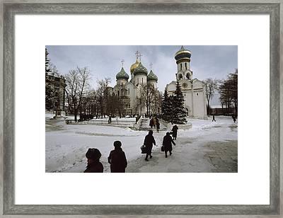 Russian Women, Dressed In Black, Walk Framed Print by James L. Stanfield