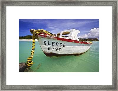 Rustic Fishing Boat Of Aruba II Framed Print by David Letts