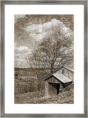 Rustic Hillside Barn Framed Print by John Stephens