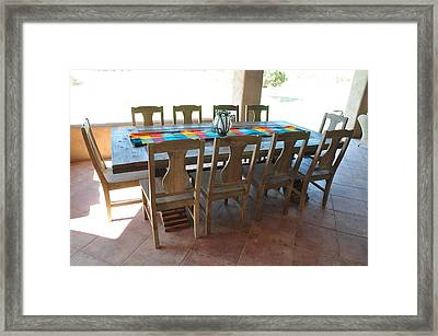 Rustic Table For Outside Living Room Framed Print by Thor Sigstedt