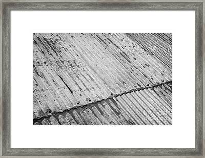 Rusting Repaired Corrugated Iron Roof Sheeting In Edinburgh Framed Print by Joe Fox