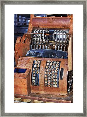 Rusty Cash Register Framed Print by Phyllis Denton