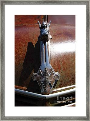 Rusty Old 1935 International Truck Hood Ornament. 7d15502 Framed Print by Wingsdomain Art and Photography