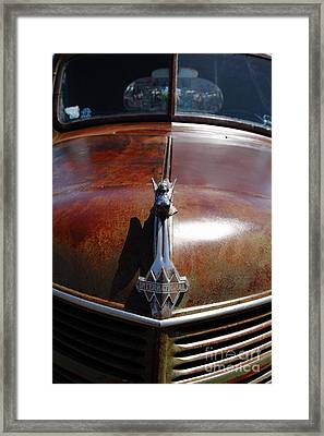 Rusty Old 1935 International Truck Hood Ornament. 7d15504 Framed Print by Wingsdomain Art and Photography
