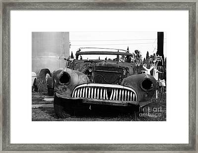 Rusty Old American Car . 7d10343 . Black And White Framed Print by Wingsdomain Art and Photography