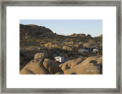 Rv Camping In The High Desert Framed Print by Roberto Westbrook