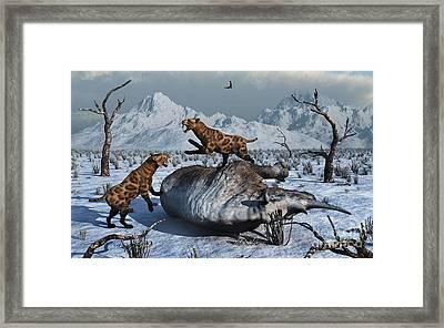 Sabre-toothed Tigers Battle Framed Print by Mark Stevenson