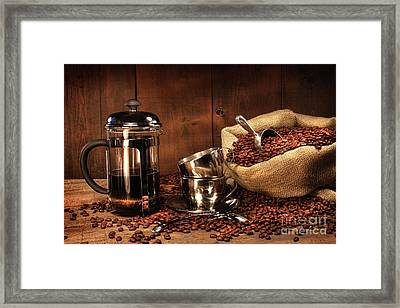 Sack Of Coffee Beans With French Press Framed Print by Sandra Cunningham
