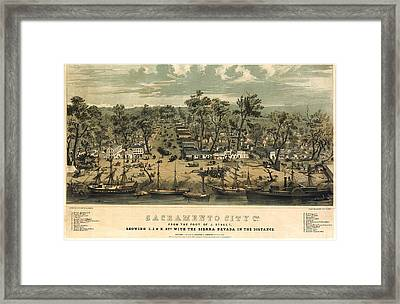 Sacramento California 1850 Framed Print by Donna Leach