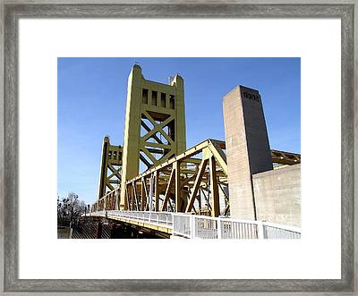 Sacramento California Tower Bridge Crossing The Sacramento Delta River . 7d11553 Framed Print by Wingsdomain Art and Photography