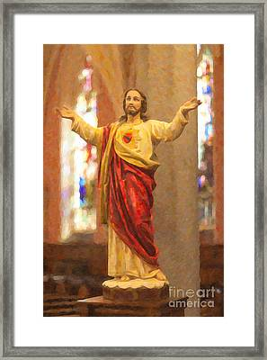 Sacred Heart Of Jesus Framed Print by Clarence Holmes