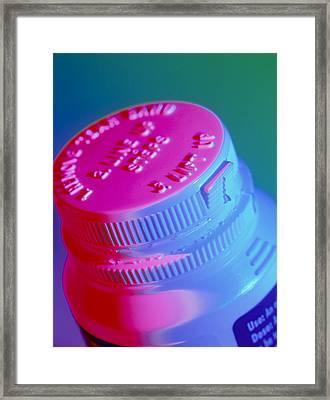 Safety Cap On A Medicine Bottle Framed Print by Steve Horrell