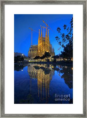Sagrada Familia At Dusk Framed Print by Yhun Suarez