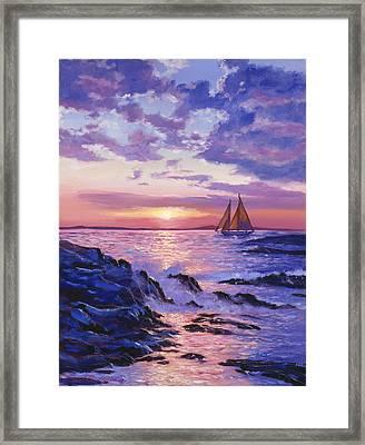Sail At Dawn Framed Print by David Lloyd Glover