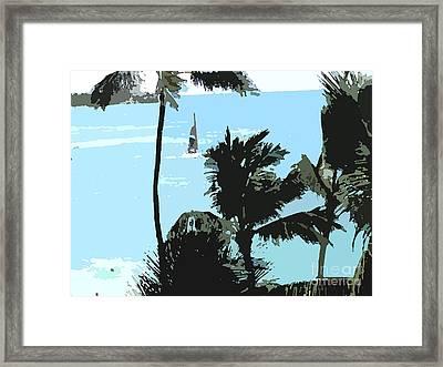 Sailboat And Luscious Palms Framed Print by Karen Nicholson