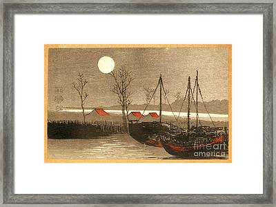 Sailboats Moored Under The Full Moon Framed Print by Padre Art