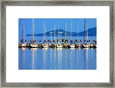 Sailboats Reflections Framed Print by Karon Melillo DeVega