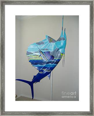 Sailfish Art On Sailfish Framed Print by Carey Chen