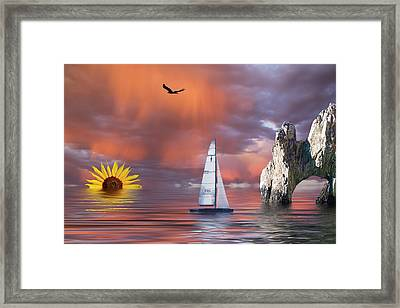 Sailing At Sunset Framed Print by Shane Bechler