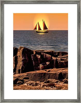 Sailing In Grand Marais Framed Print by Bill Tiepelman