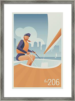 Sailing Lake Union In Seattle Framed Print by Mitch Frey