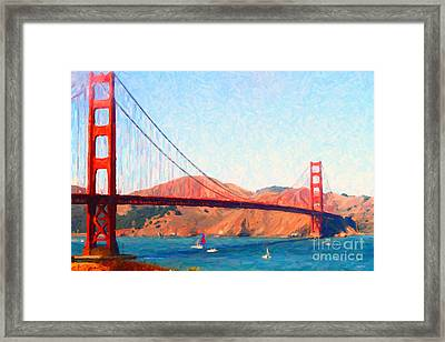 Sailing Under The Golden Gate Bridge Framed Print by Wingsdomain Art and Photography