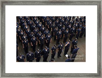 Sailors Stand At Attention During An Framed Print by Stocktrek Images