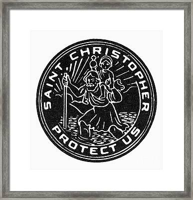Saint Christopher Medal Framed Print by Granger