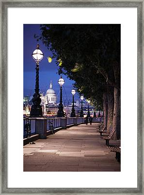 Saint Paul's Cathedral As Seen From The Queen's Walk Along The Thames River In London.  2007. Framed Print by Uyen Le
