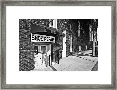 Salisbury Shoe Repair Framed Print by Patrick M Lynch