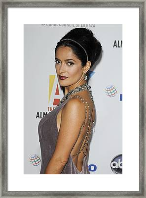 Salma Hayek At Arrivals For The Nclr Framed Print by Everett