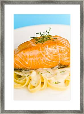 Salmon Steak On Pasta Decorated With Dill Closeup Framed Print by Ulrich Schade