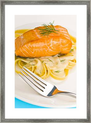 Salmon Steak On Pasta Decorated With Dill Framed Print by Ulrich Schade