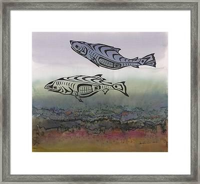 Salmon Stream Framed Print by Carolyn Doe