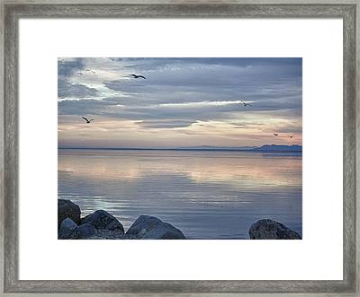 Salton Sea Sunset Framed Print by Linda Dunn