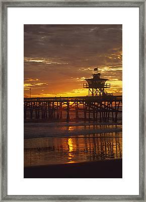San Clemente Lifeguard Tower And Pier At Sunset Framed Print by Cliff Wassmann