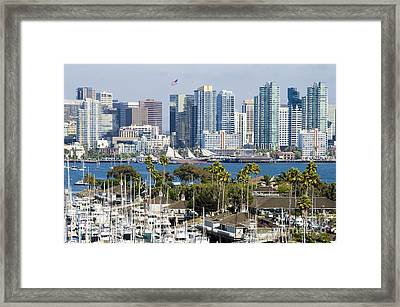 San Diego Cityscape Framed Print by MaryJane Armstrong