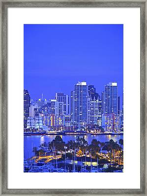San Diego Skyline And Harbour Island Framed Print by Stuart Westmorland