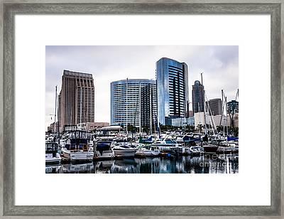 San Diego Skyline Luxury Marina Framed Print by Paul Velgos