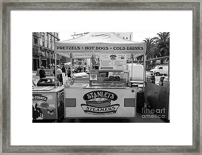 San Francisco - Stanley's Steamers Hot Dog Stand - 5d17929 - Black And White Framed Print by Wingsdomain Art and Photography