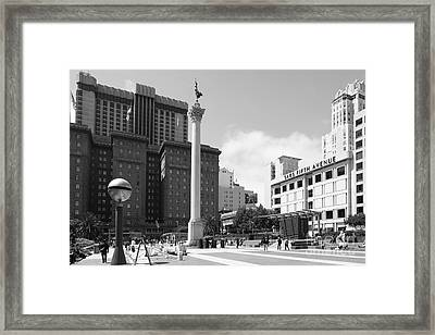 San Francisco - Union Square - 5d17933 - Black And White Framed Print by Wingsdomain Art and Photography