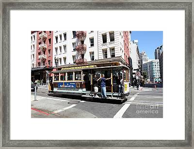San Francisco Cable Car On Powell Street - 5d17957 Framed Print by Wingsdomain Art and Photography