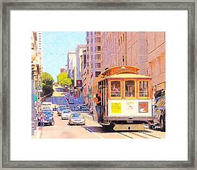 San Francisco Cablecar Coming Down Powell Street Framed Print by Wingsdomain Art and Photography