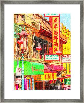 San Francisco Chinatown Shops Framed Print by Wingsdomain Art and Photography